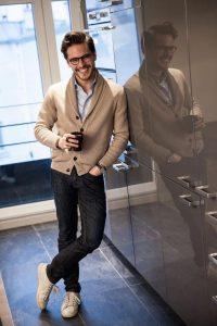 Shawl neck cardigan sweater dressy casual