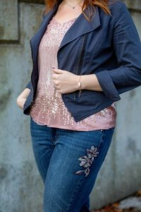 Sequined top with jeans dressy casual