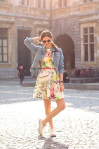 Feminine flowy dress with denim jacket dressy casual